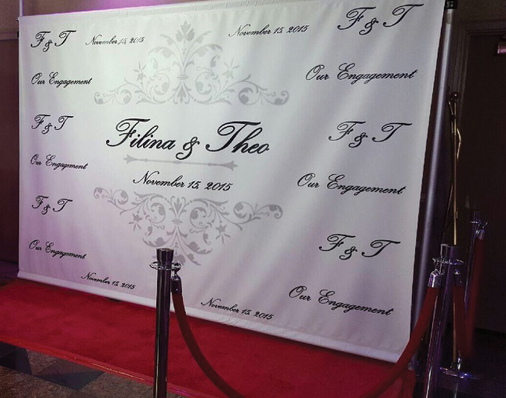 Custom Backdrops - Digitally printed on cloth fabric for a professional look. We can print what the mind can imagine. After the event it's yours to keep as a keepsake.Includes design $250