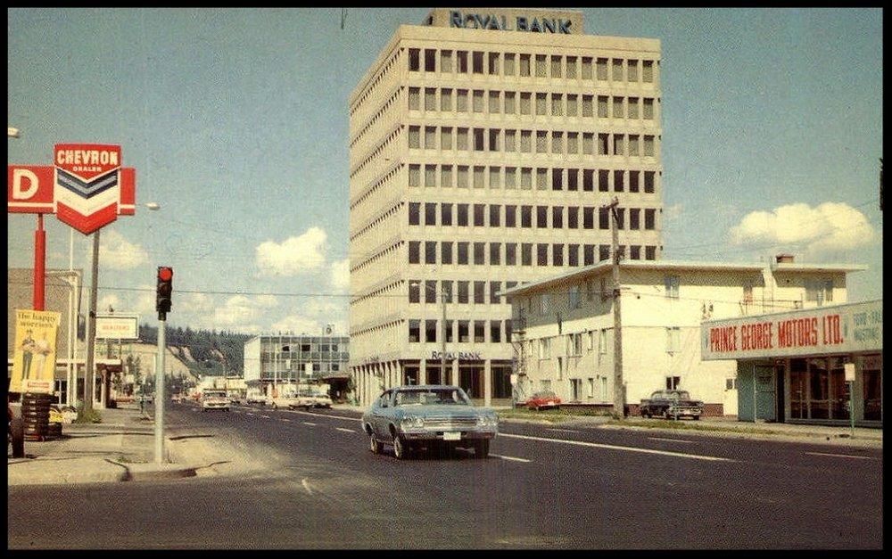 Royal Bank Building, Prince George, BC, postcard circa 1970