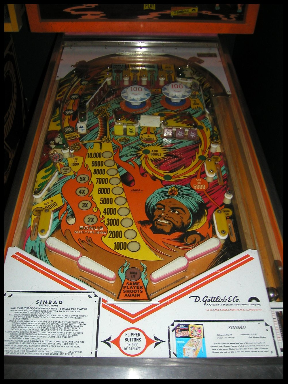 A shot of the playfield.  Notice the double flippers.