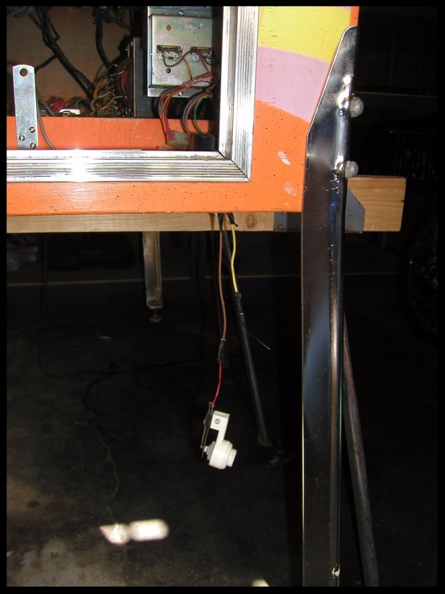 One of the many jimmy-rigged items.  The replay switch was by-passed and left to hang from the bottom of the machine.