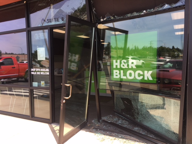 A car drove into our building one morning. Tough call to get first thing in the morning.