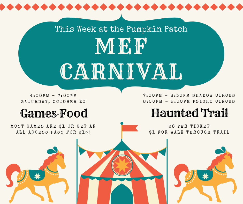 Saturday, October 20, 2018 - Join us for the carnival games you've enjoyed for years, plus some new additions.Most games are $1, or get an all access pass for $15Haunted TrailFamily Friendly: 7:00pm - 8:30pmScary Trail: 9:00pm - 10:00pm