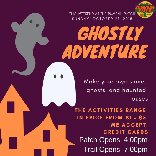 Sunday, October 21, 2018 - Have fun making your own slime, building a proton pack, and lots of other fun crafts.The activities range in price from $1 - $5.Haunted TrailFamily Friendly: 7:00pm - 8:30pm