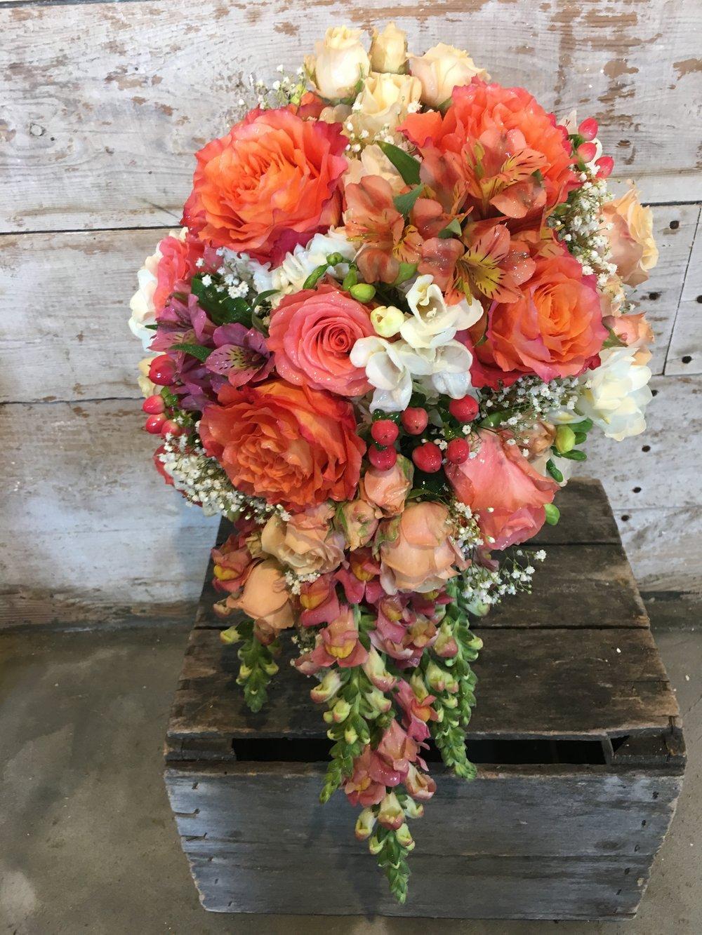 A beautiful cascade for a coral themed wedding in Rehoboth Beach, DE