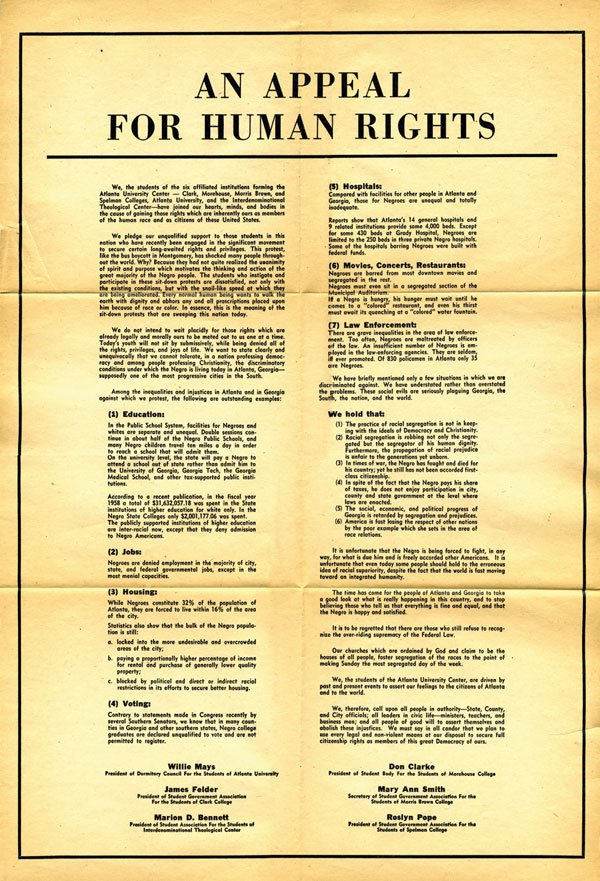 PAGE 46:  AN APPEAL FOR HUMAN RIGHTS  WAS PUBLISHED IN THE  ATLANTA CONSTITUTION, ATLANTA JOURNAL,  AND  ATLANTA DAILY WORLD  ON MARCH 9, 1960 (PERMISSION OF THE ASSOCIATED PRESS). FOLLOWING THE PUBLICATION OF THE  APPEAL , ATLANTA UNIVERSITY STUDENTS FORMED THE ORGANIZATION, COMMITTEE ON APPEAL FOR HUMAN RIGHTS (COAHR). (PERMISSION ON THE ASSOCIATED PRESS).
