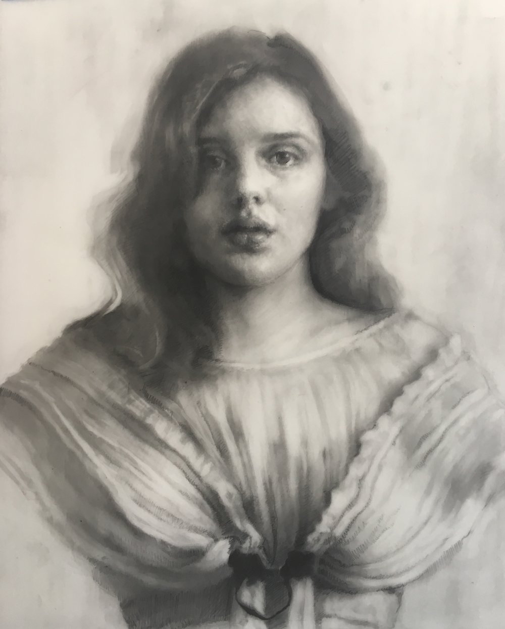 Victorian Girl   graphite on mylar. 9 x 12 inches . framed. 2017