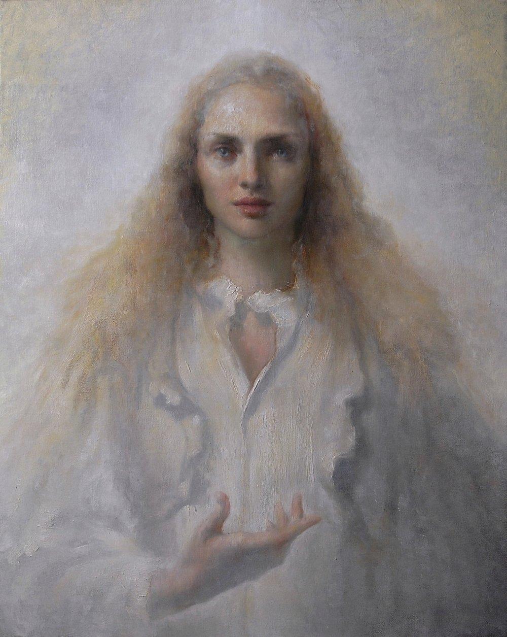 Maria Kreyn - messenger in white 24 x 30 .jpg