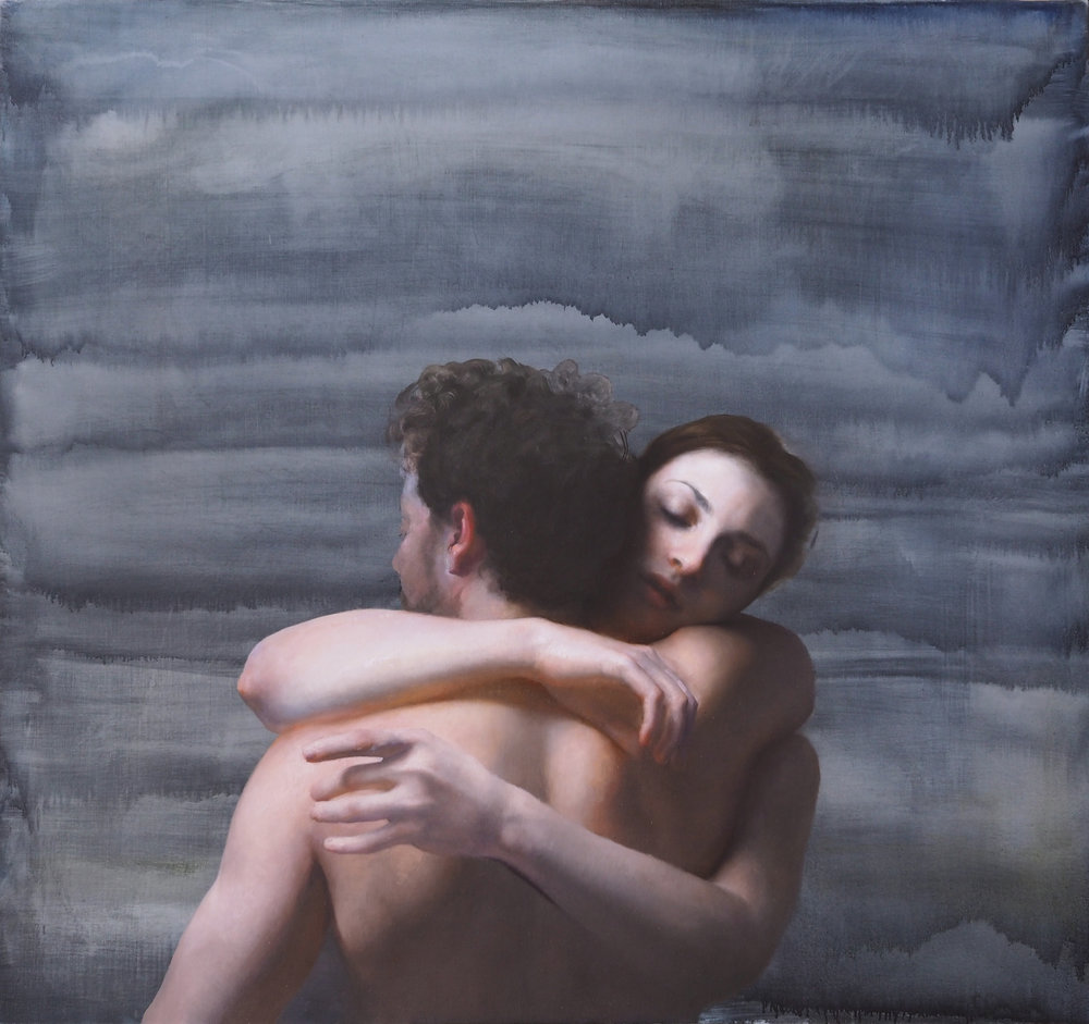 EMBRACE ON BLUE oil on canvas 62 X 60 inches