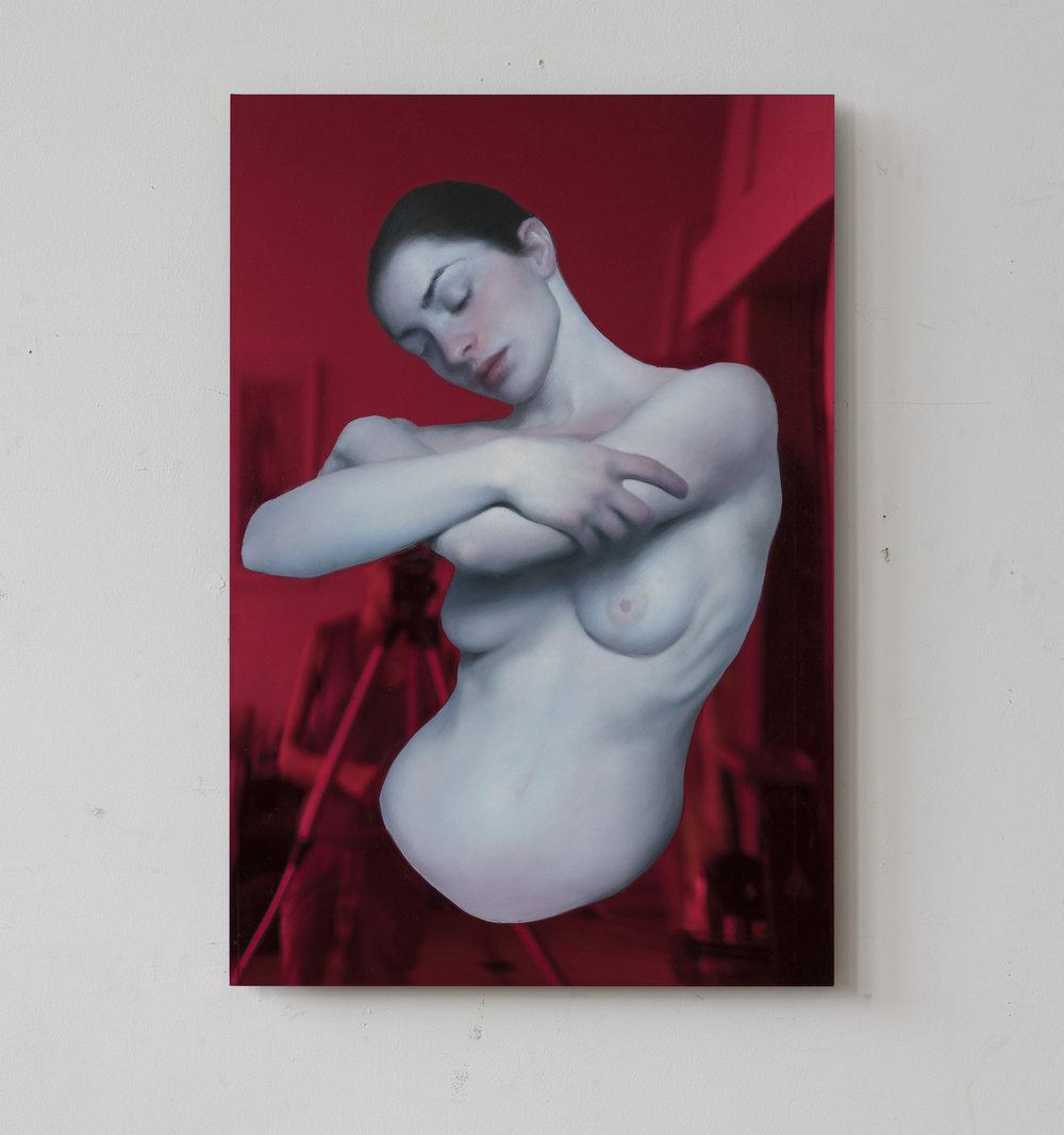 Maria Kreyn - eva bowing - oil on red plexi_ 23 x33inches.jpg