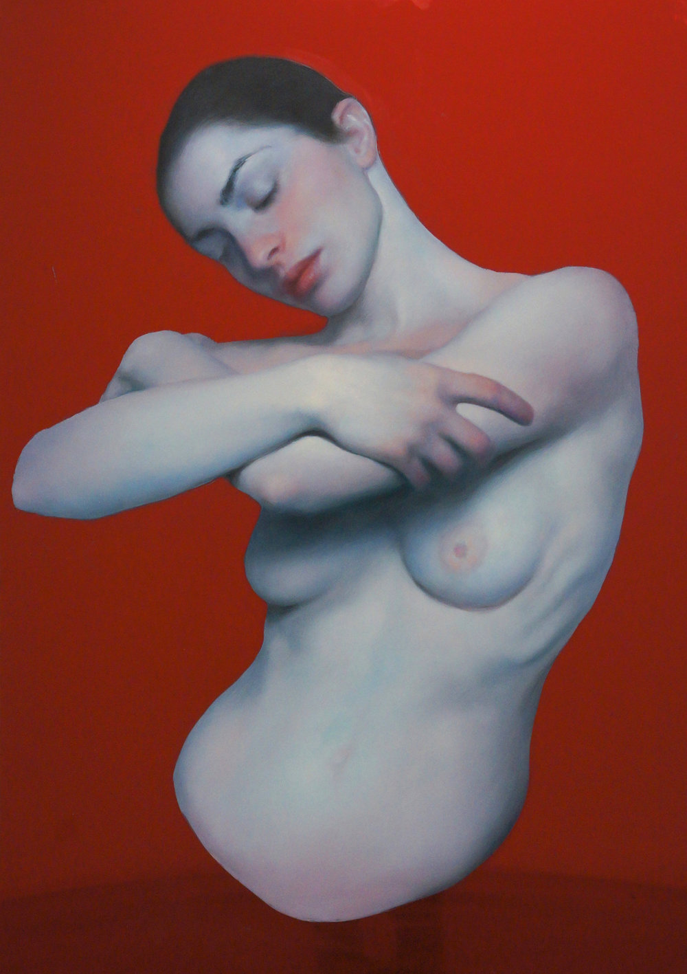 Maria Kreyn _ Eva . oil on reflective red plexiglass.JPG