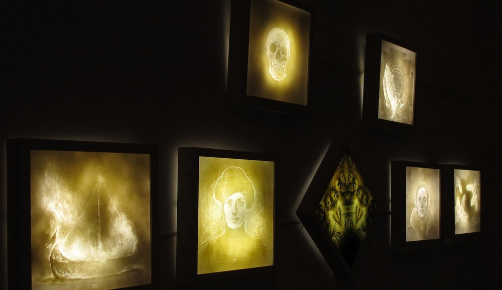 however vast the darkness, we must supply our own light - backlit etchings into plexiglass