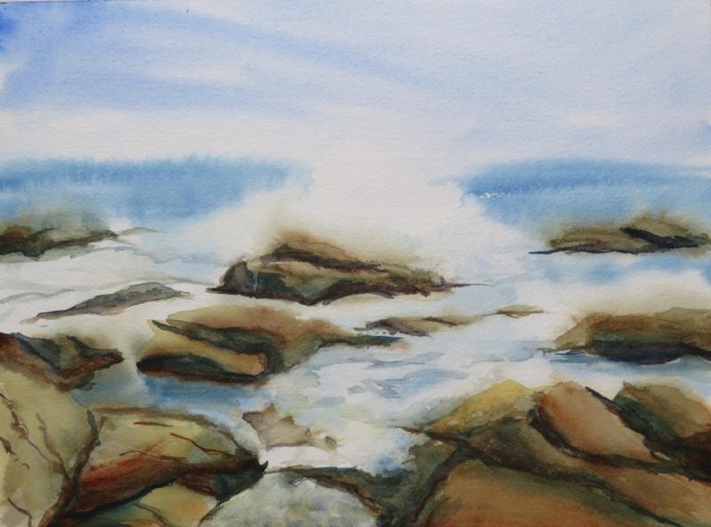 """Acadia Surf"", 10""X14"" watercolor, April 2017"