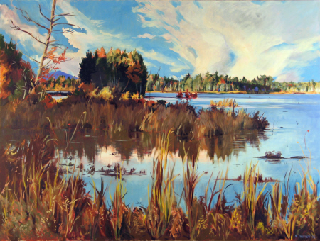 Marsha Donahue - A native of central Maine, Marsha Donahue holds degrees in painting and printmaking from the Maine College of Art and American University in Washington, D.C. She has been influenced by Homer, Sargent, and many of the Ashcan and Modernist schools.Autumn Dolby, oil on canvas, 66