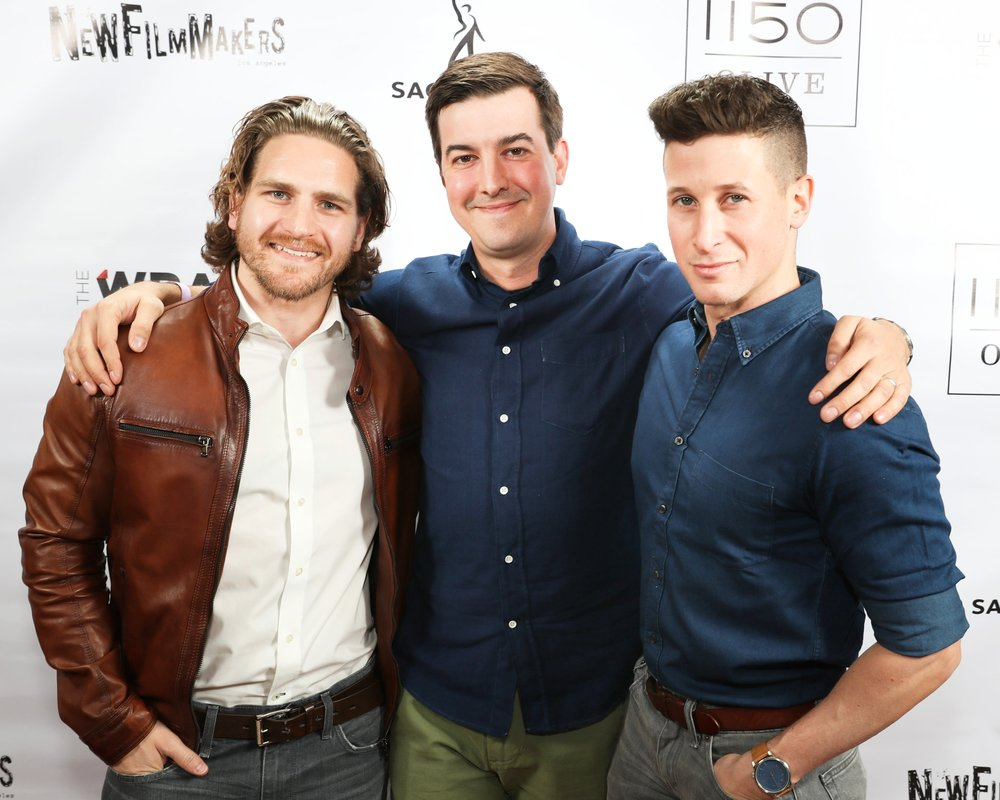 Morgan at the New Filmmakers LA premiere of The Massacre at Black Divide, with actor Jeff Rosick (left) and director Steve Makowski (right).