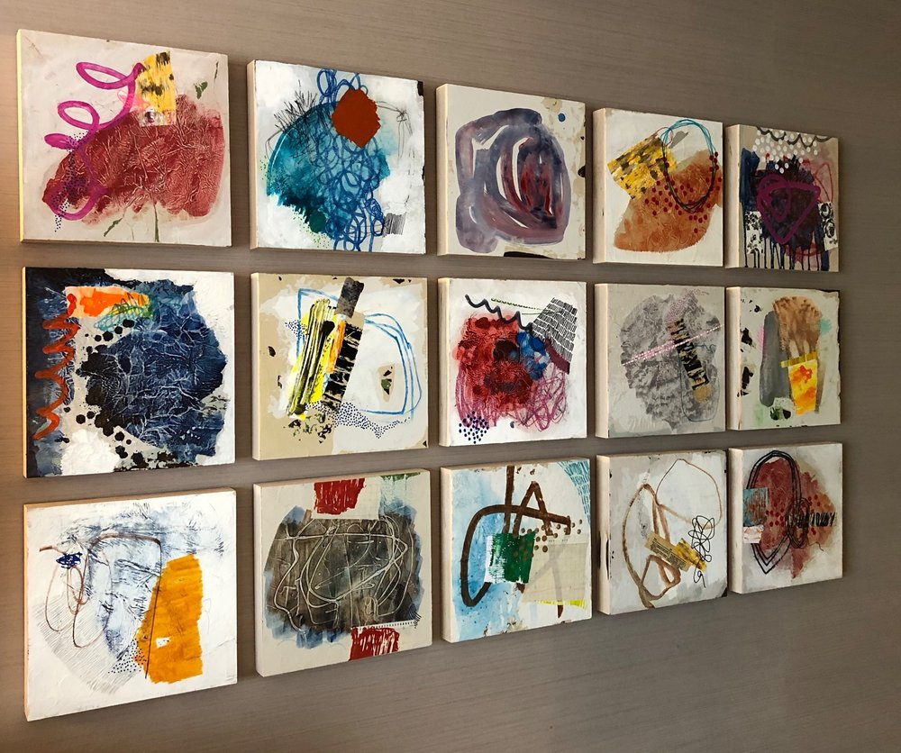 """Random Collection of """"Journal"""" - each are 12 x 12 - mixed media on panel"""