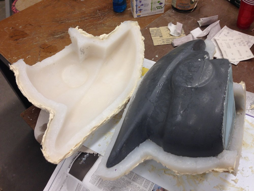 6) Helmet mold ready for pouring plastic
