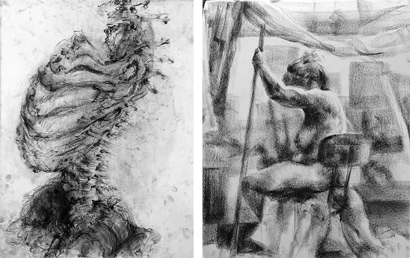 observational charcoal mark-making