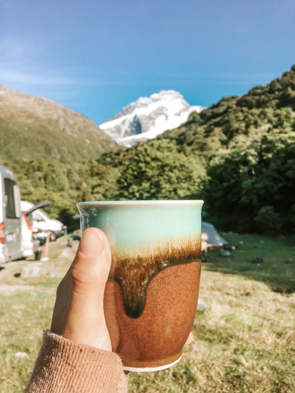 Cacao ceremony pre-hike with my mate, Aoraki (Mount Cook)