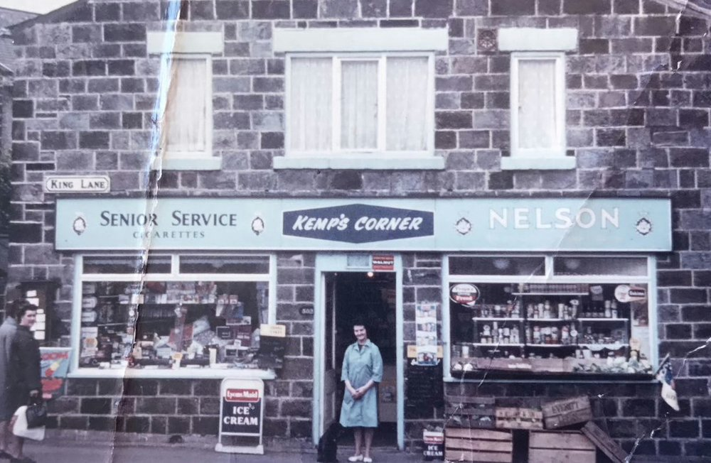 Please excuse the terrible condition of this image but I thought it was too special not to share.  This is my Auntie Jean outside the shop she ran with my Uncle George in the 1960's and 1970's.