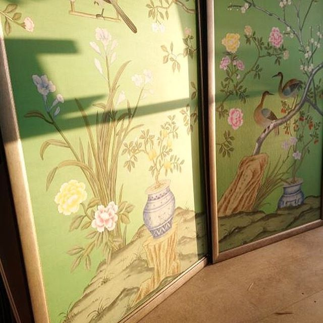 Lovely morning light shining through the workshop window on these Chinese hand painted wallpapers. Framed perfectly in a brushed silver frame. . . . #wallpaper #bespokeframing #morninglight #edinburghart #edinburghdesign #framingworkshop