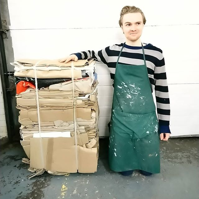 Not only is keen-bean David an excellent framer, he's a dab hand at making a bail. We all agree this is his best bail yet! #proud . . . #recycling #cardboardbail #miltek #recycleatwork #creativerecycle #bestbailyet #holybail #christianbale