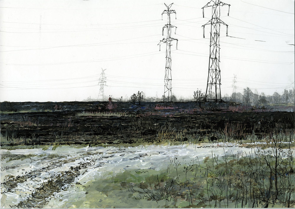 Postcard From The Zone I, original drawing.