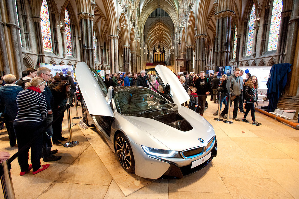 BMW i8 in Lincoln Cathedral at SPARK! 2015