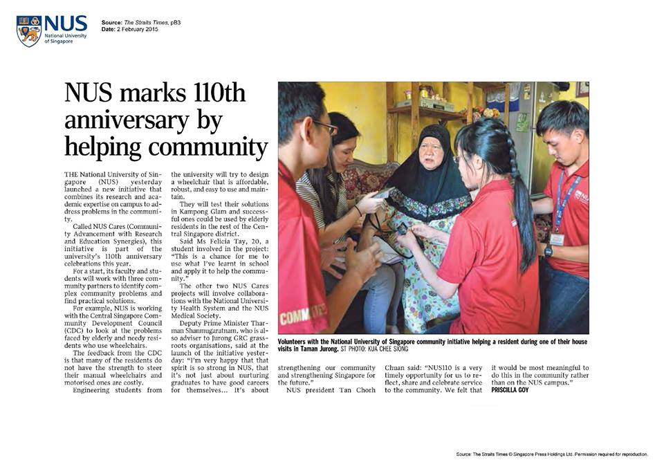NUS marks 110th anniversary by helping community | 2 February 2015