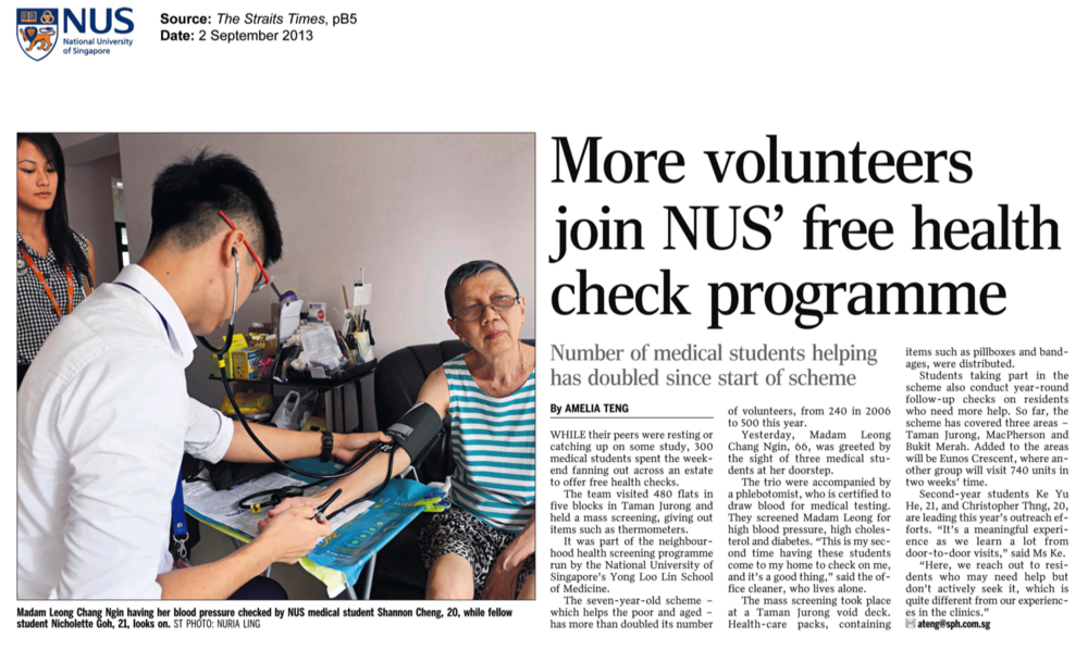 more volunteers join nus' free health check programme | 2 September 2013