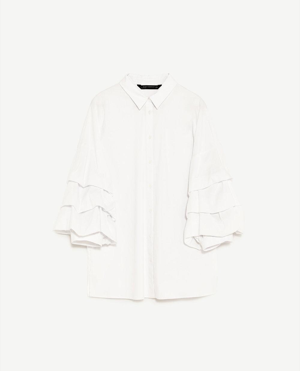 Camisa em algodão com mangas plissadas, 29,95€