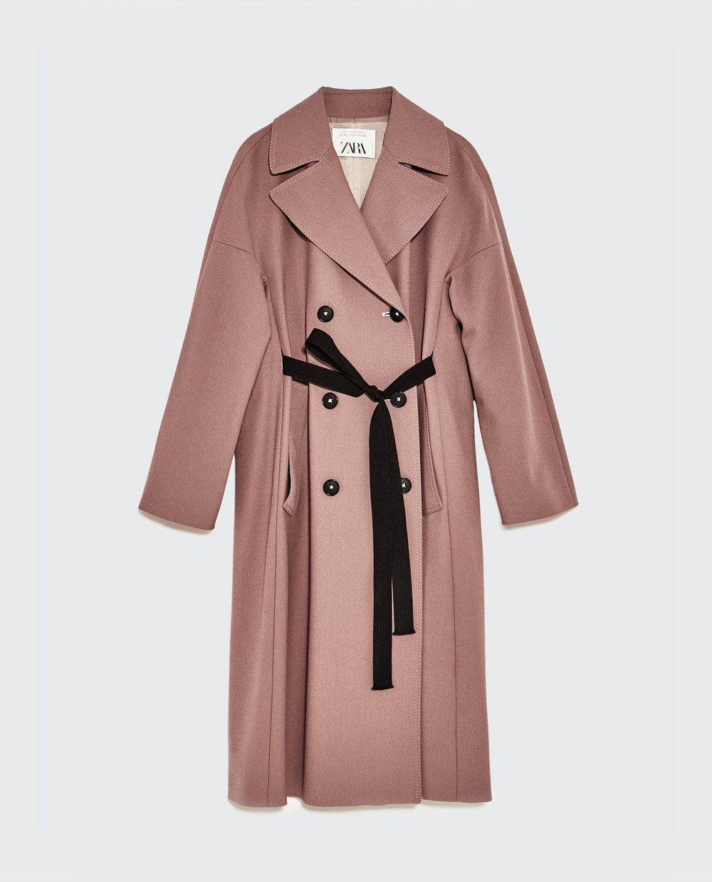 Sobretudo rosa com abotoadura dupla, 129€