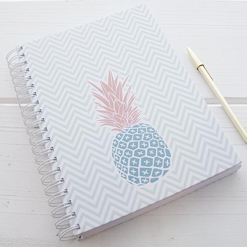 Caderno com argolas Mint Chevron, Rosa com Canela