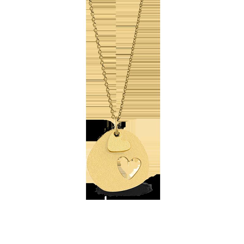 Colar Love Double Heart em prata dourada, Omnia