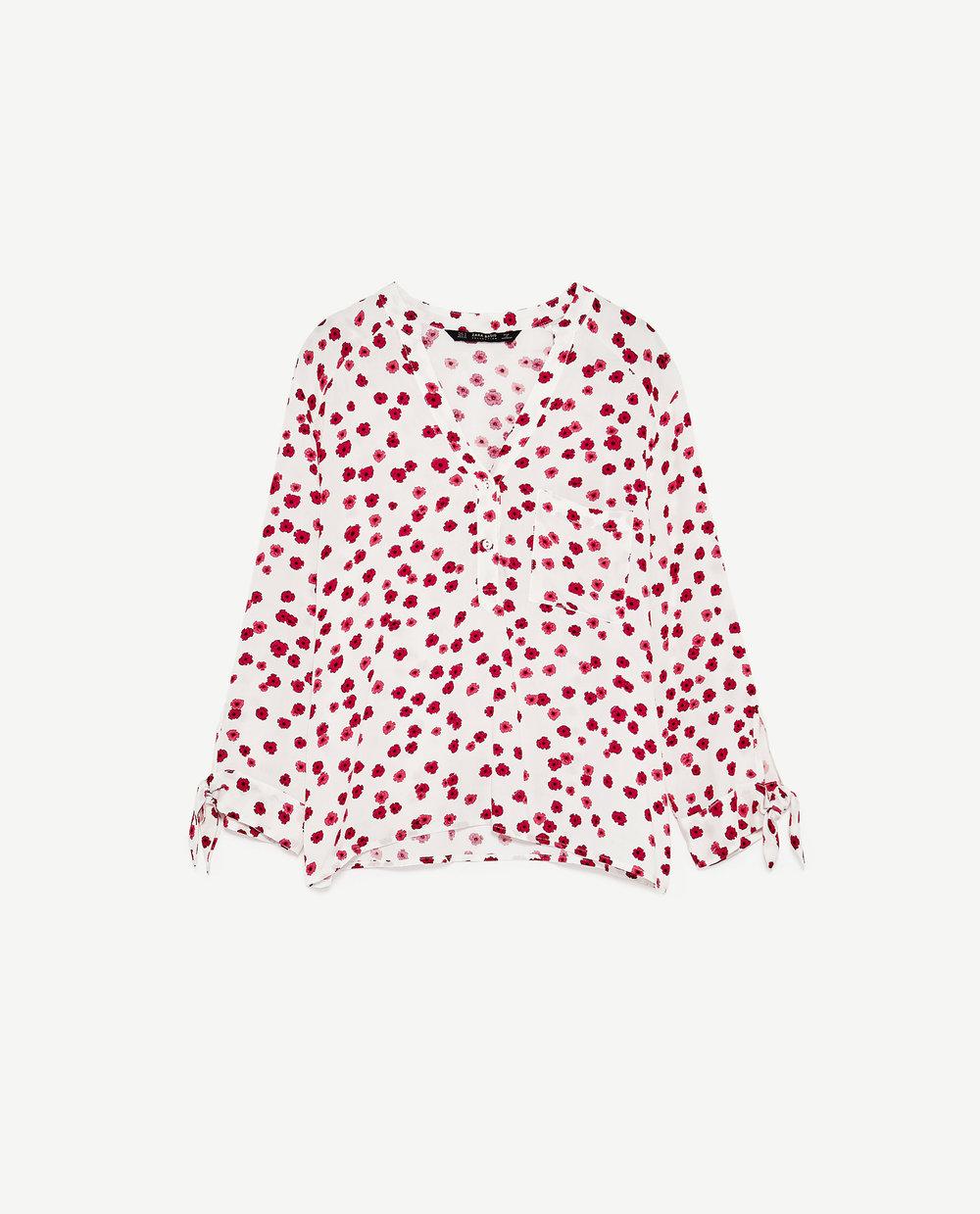 Camisa com padrão floral, Zara
