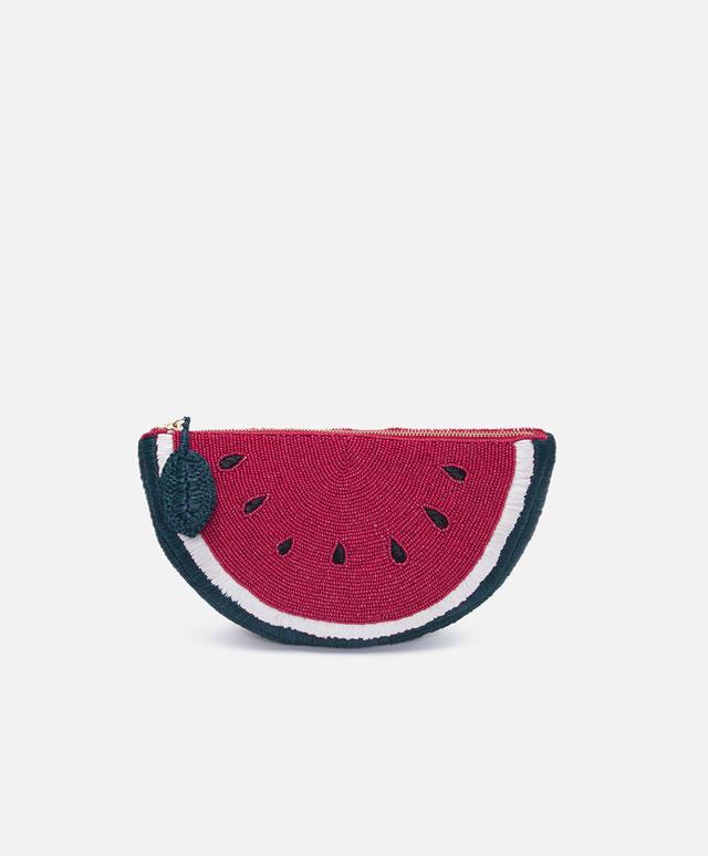 Carteira de ráfia em formato de melancia, Oysho