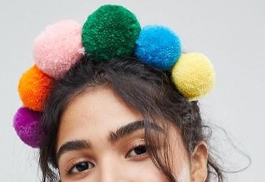 asos: Multicolour Pom Pom Headband