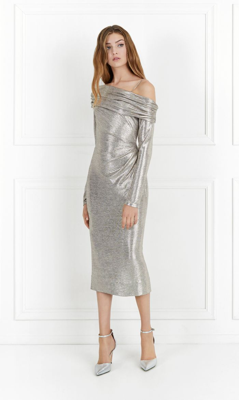 glenda metallic stretch jersey dress 170 dolares sale.jpg