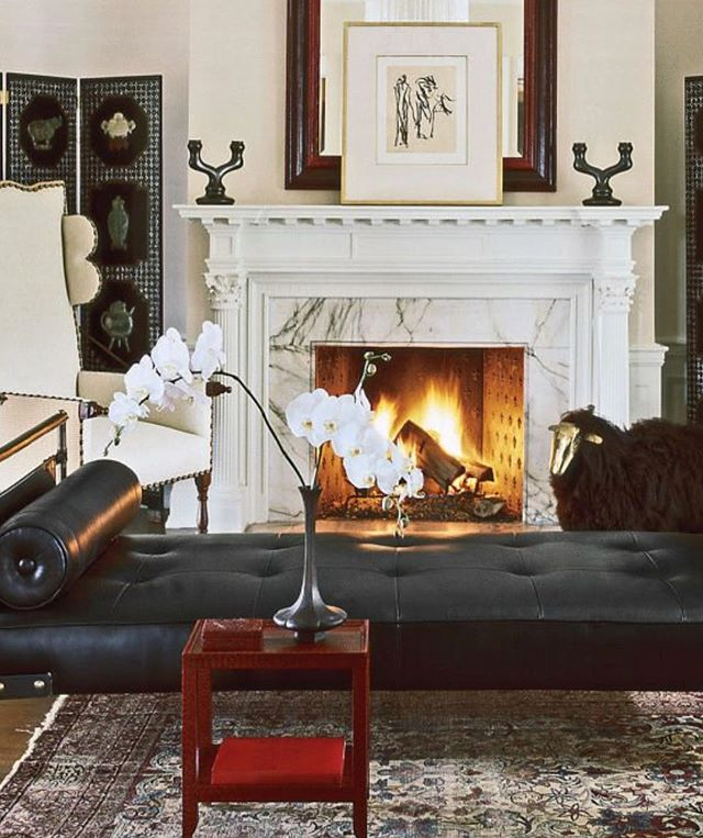 Exquisite sitting room designed @ernestdelatorre. The room features Chinese Lacquer screens and a Karl Springer mirror and a petite Telephone Table, vintage from @lobelmodern. A Jacques Adnet has daybed and a Louis Xlll wing chair. A Claude LaLanne sheep. Beautifully layered room.  #ernestdelatorre #karlspringerltd #interiordesign #design #style #chic #furnitureart #interiordesigner #interiordecorating #design #karlspringer #decor #luxury #luxurylifestyle #interiurs #homedecor #jacquesadnet #custominterior #customfurniture #designicon #midcenturymodern #midcentury #midcenturydecor #frenchdesign #lalanne #claudelalanne #designcrush #chic