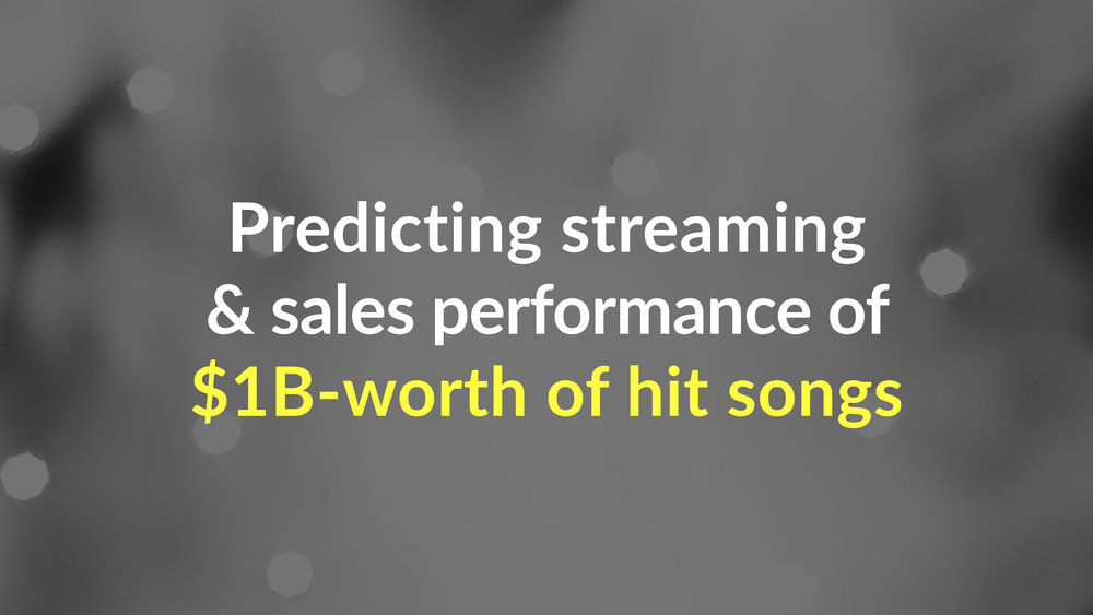 Hyperlive predicted streaming and sales performance of a billion dollars-worth of singles by 10 of the worlds biggest superstars with  over   80% accuracy .