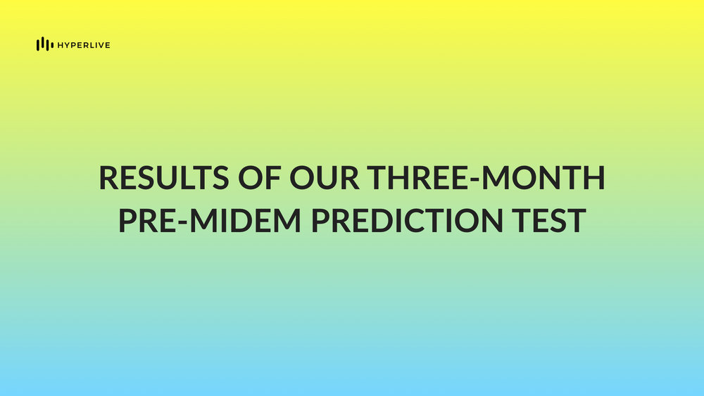 In our latest analysis, we used our music-focused algorithm to predict  Spotify and YouTube streaming numbers for five artists in the run-up to Midem 2018 .  Read the full post , or scroll down to learn more about how we predict commercial performance and earning potential of new music.