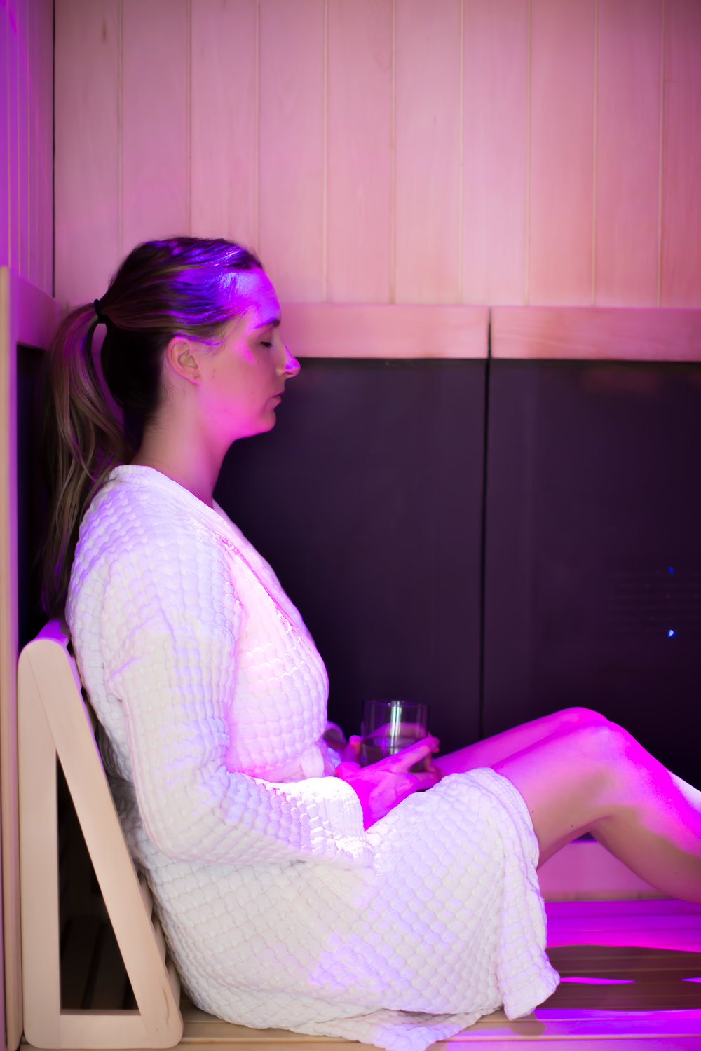 Our saunas have chromotherapy - a way you can connect with the chakras. Pink is not associated with a specific chakra, but is usually correlated to the Heart Chakra.
