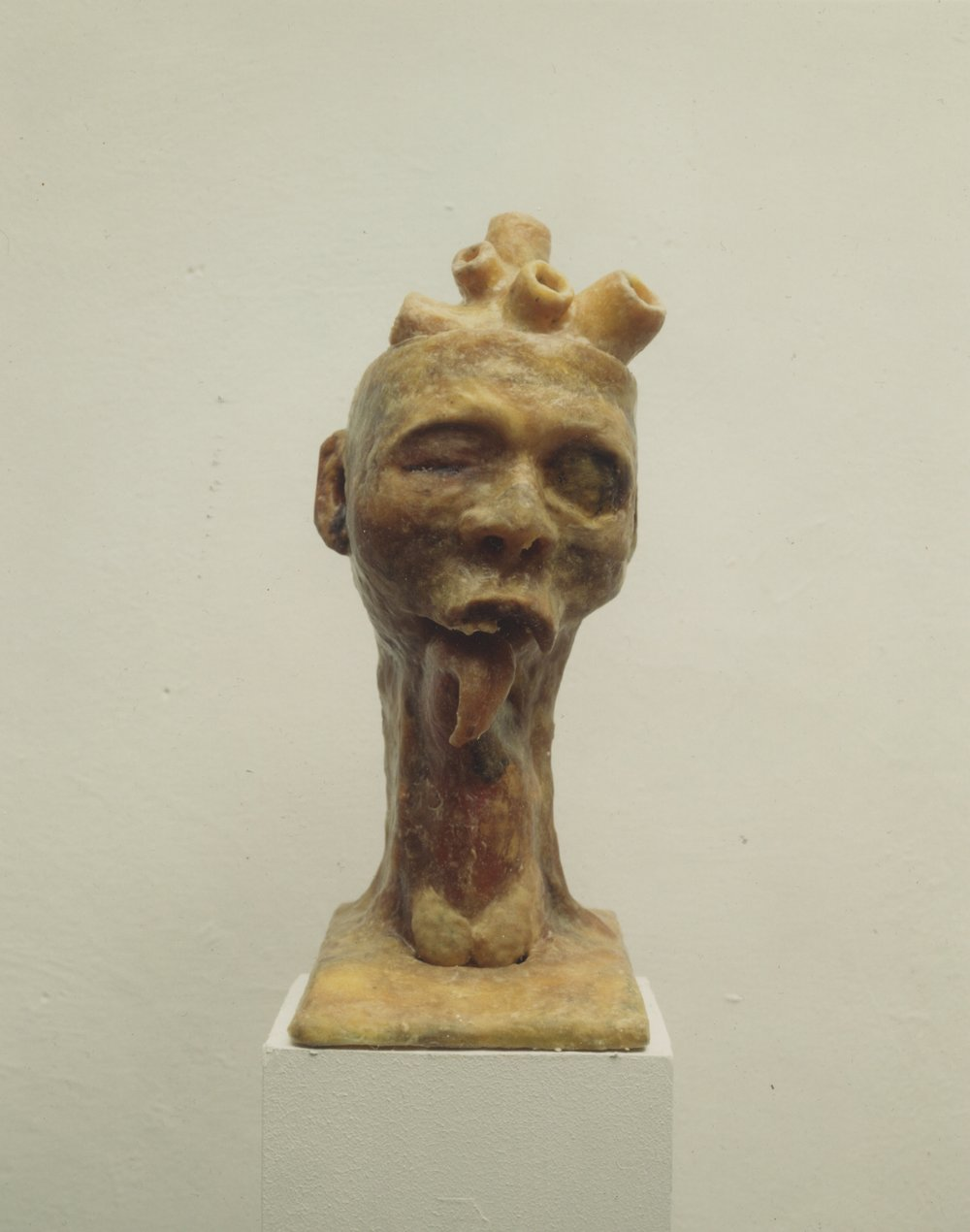 """""""Head"""", 1994.Mixed media: plastikk stamme med voks"""