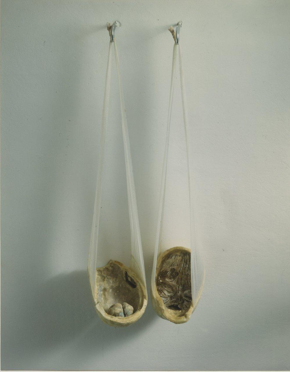 """""""Barnehoder"""", 1994.Mixed media: bandage,gips, voks og farge"""