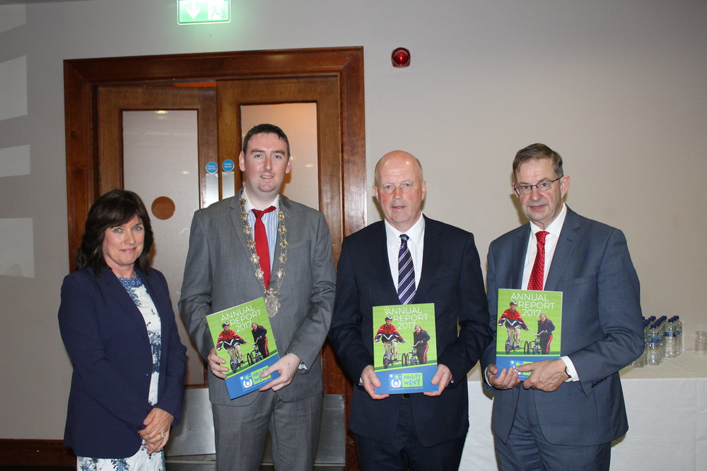 l-r: Breda Crehan-Roche, Chief Executive, Ability West, Deputy Mayor of Galway City, Cllr. Mike Cubbard, Ray Kelly, Chairman, Ability West, Deputy Éamon Ó Cuív
