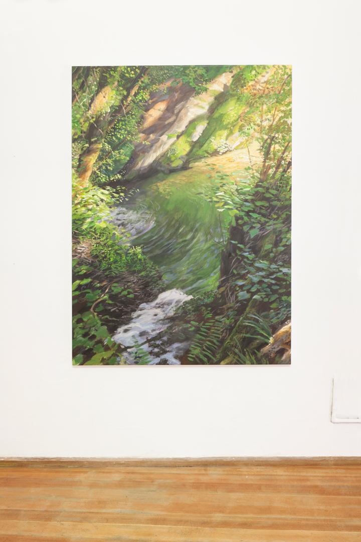 Gneiss-Felsen (auf Arann) , 2018, acrilico su tela, 160 x 120 cm
