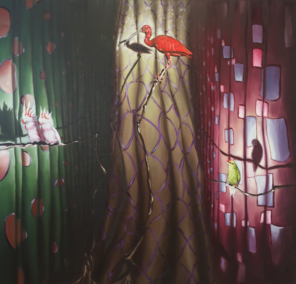 Birds and Curtains, 200 x 200 CM, Oil on Canvas, 2016