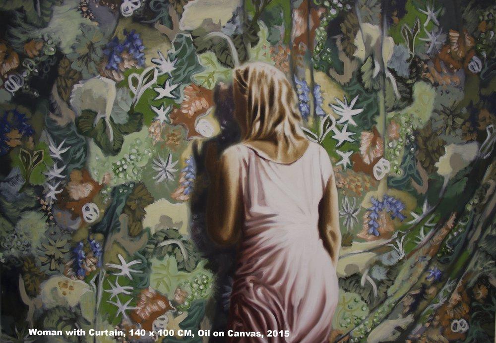 Woman with curtain, 140 x 100 CM, Oil on Canvas, 2015.jpg