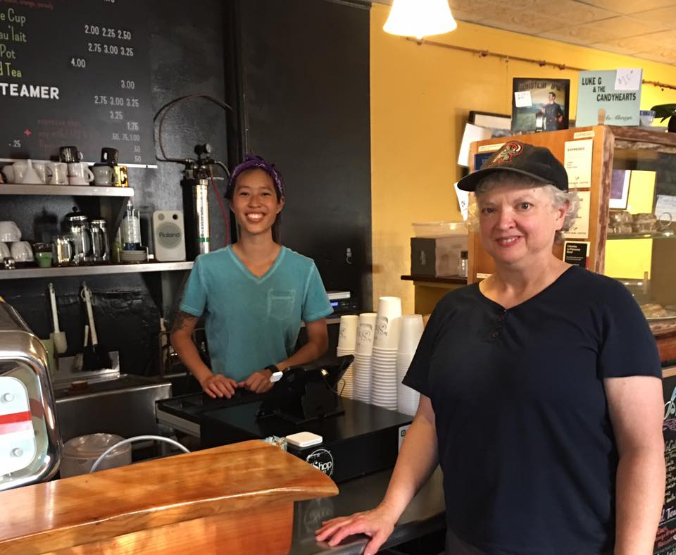 Linda and the barista at The Shop