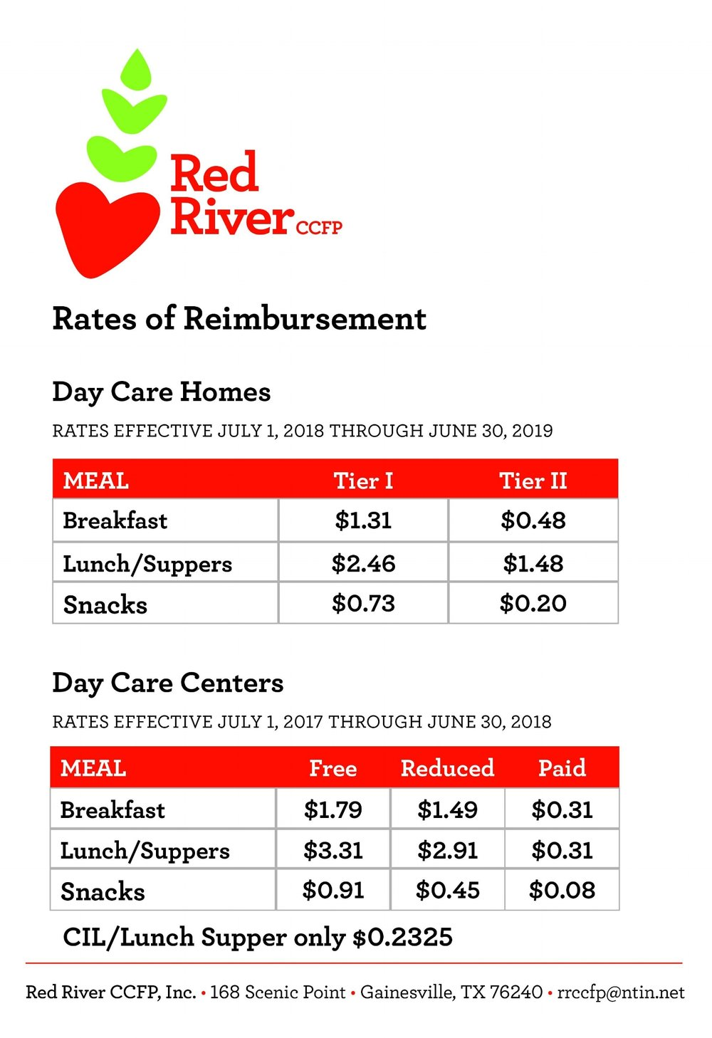 Newsletters Red River Child Care Food Program