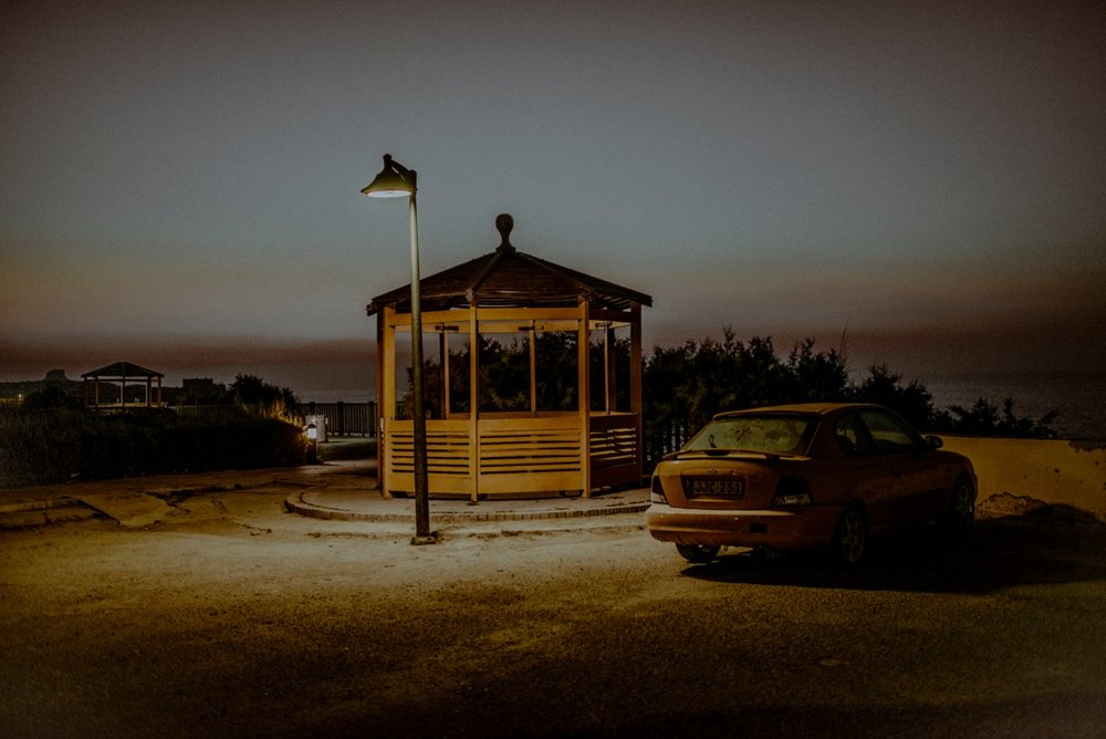 street lamp and car